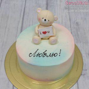 """Акция! Торт """"Мишка на 14 февраля"""" 1 кг"""