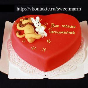 """Акция! Торт """"Влюбленные на сердце"""" 1 кг"""