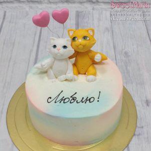 """Акция! Торт """"Котики с сердцами"""" 1 кг"""