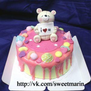 """Акция! Торт """"В розовой глазури с мишкой"""" 1 кг"""