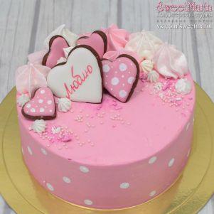 """Акция! Торт """"Розовый с сердечками"""" 1 кг"""