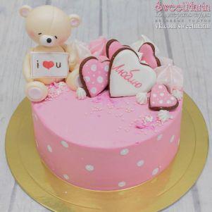 """Акция! Торт """"Розовый с мишкой"""" 1 кг"""
