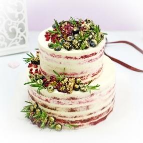 """Торт """"Свадебный с ягодами и гранатом"""""""