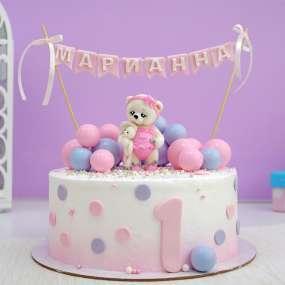 """Торт """"Мишка и цветные шарики"""""""