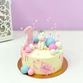 Белый торт малыш единорог