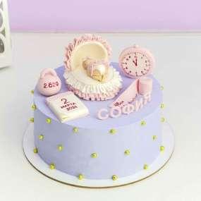 Торт для новорожденных фиолетовый