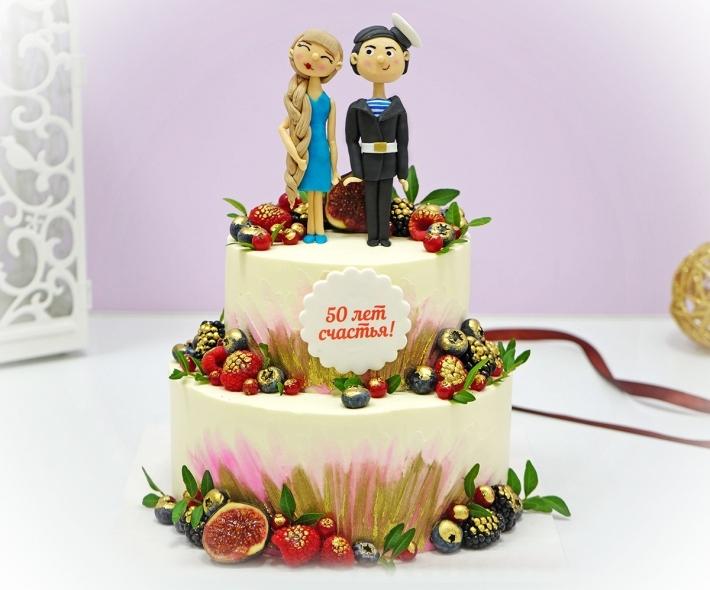 """Торт """"Свадебный с фигурками"""""""