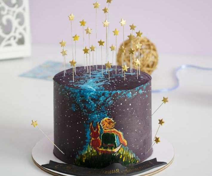 """Торт """"Маленький принц и звезды"""""""