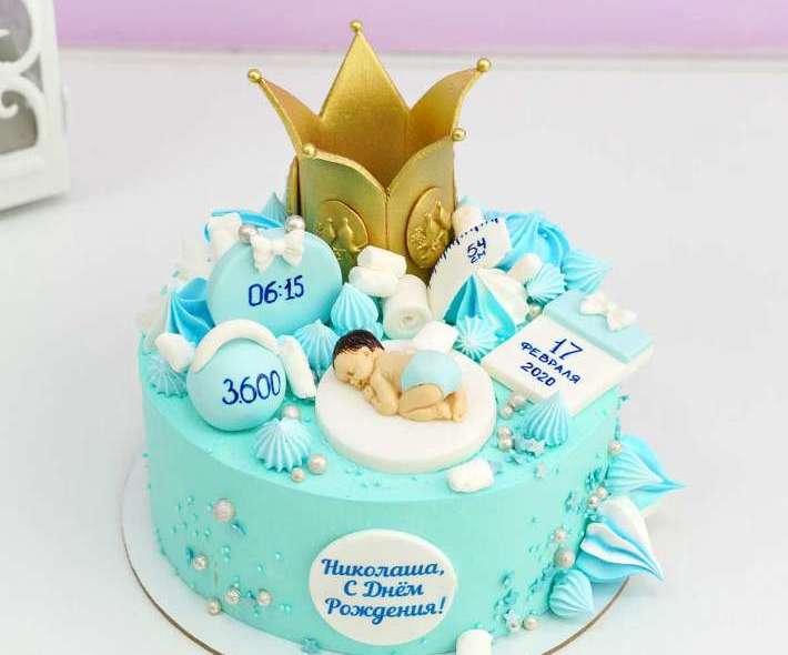 Голубой торт для малыша