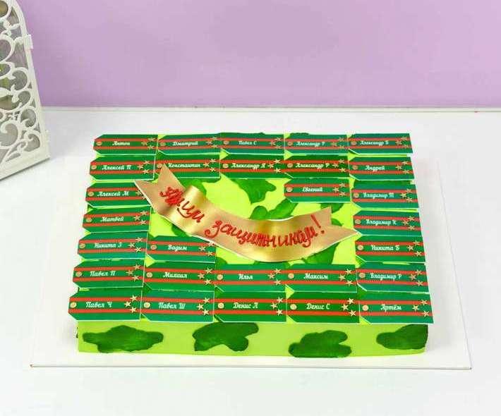Зеленый торт с погонами