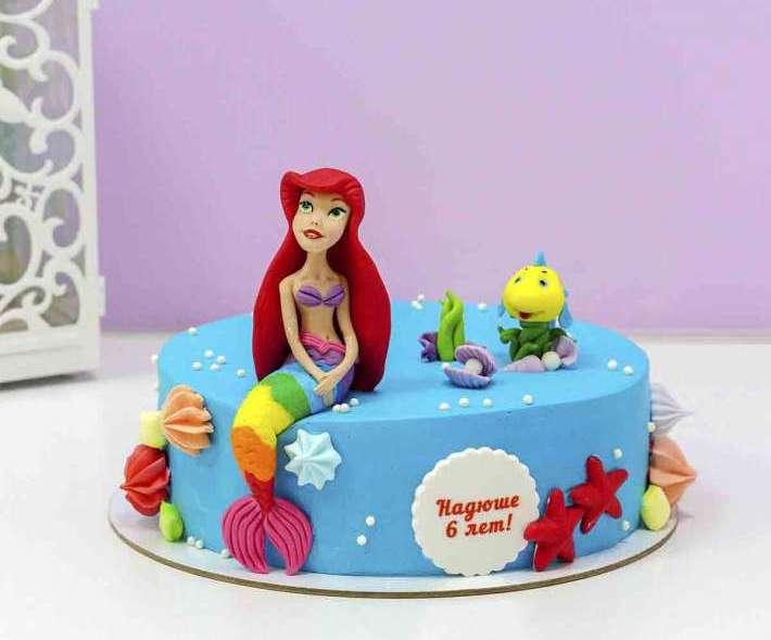 Торт с русалочкой голубой