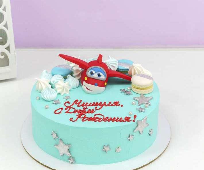 Торт с самолетом голубой