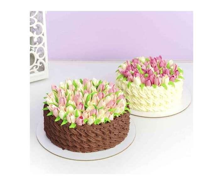 Торт кремовый с тюльпанами
