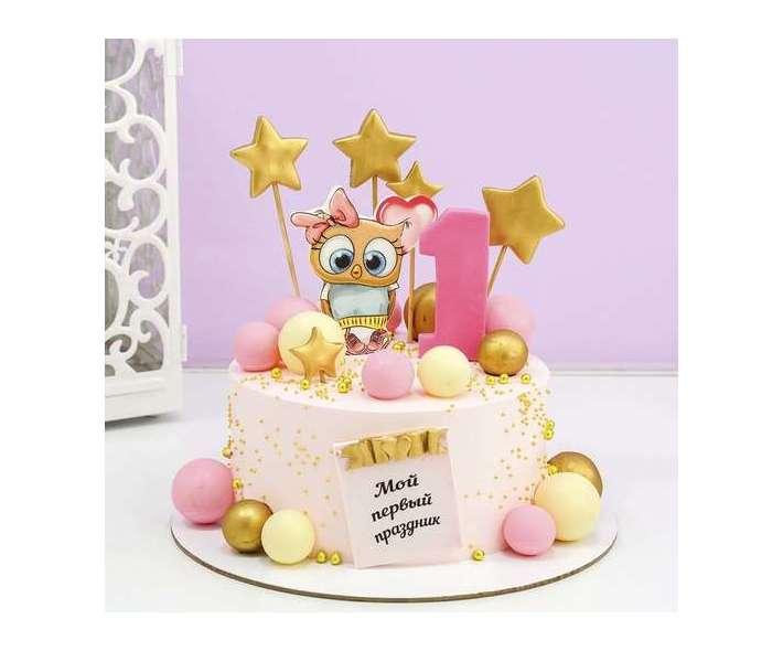 Розовый торт с совой