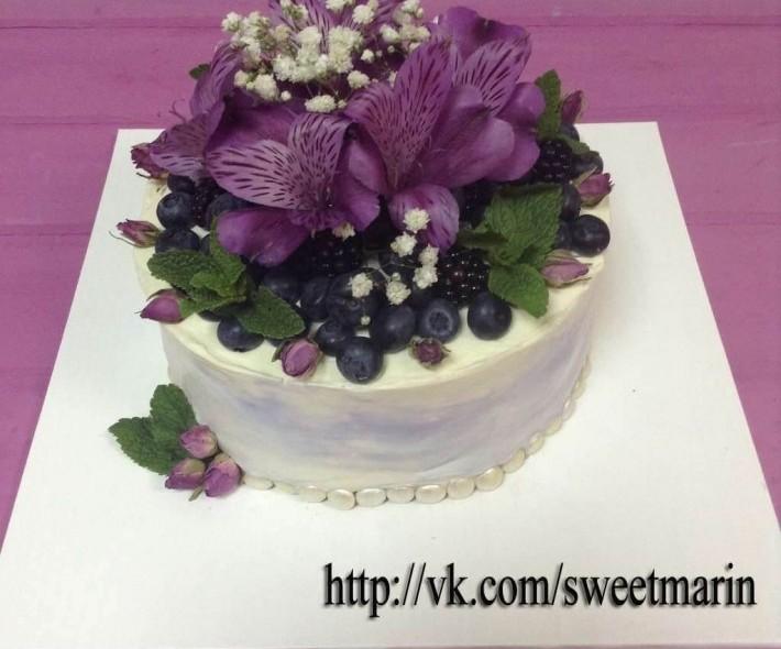 """Торт """"Сиреневые цветы"""""""
