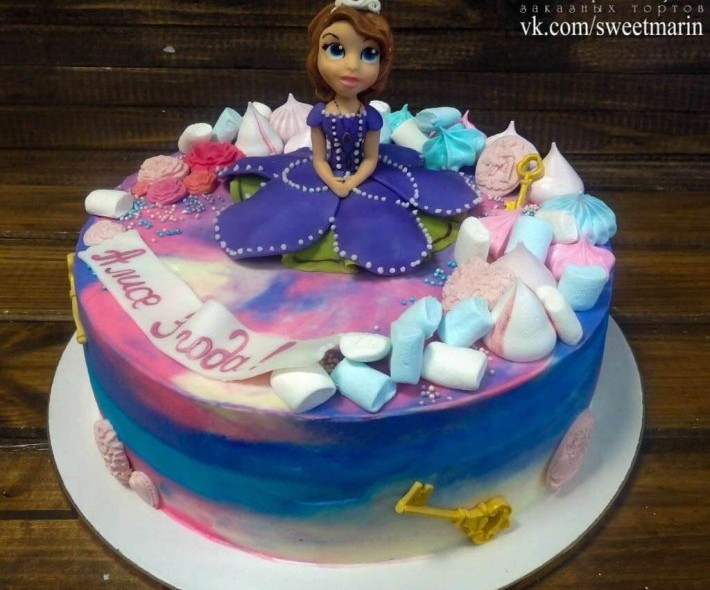 """Торт """"Цветной с Софией"""""""