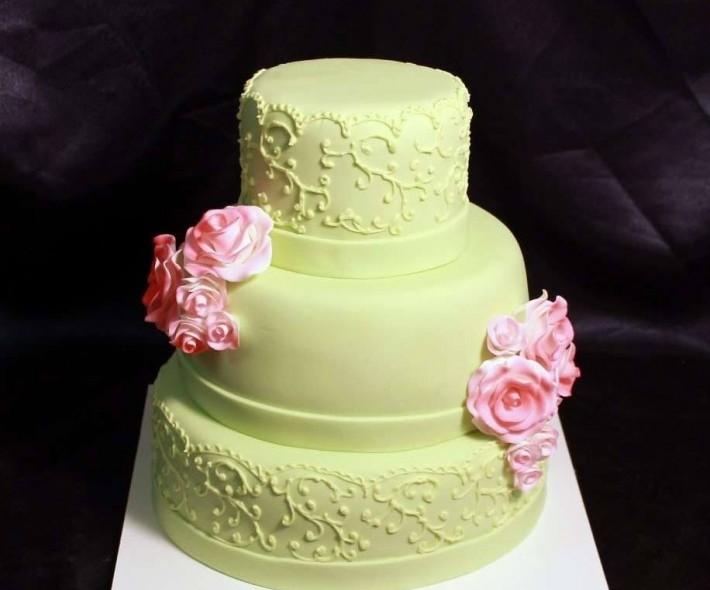 """Торт """"Мятный и розовый"""""""