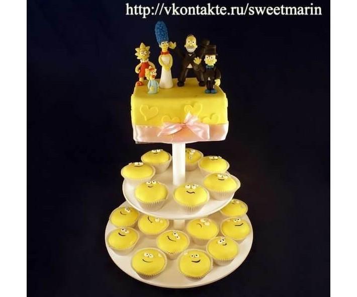 """Торт с капкейками """"Симпсоны"""""""