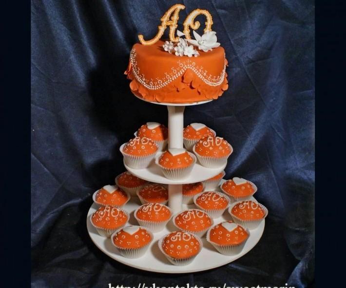 """Торт с капкейками """"Оранжевое счастье"""""""