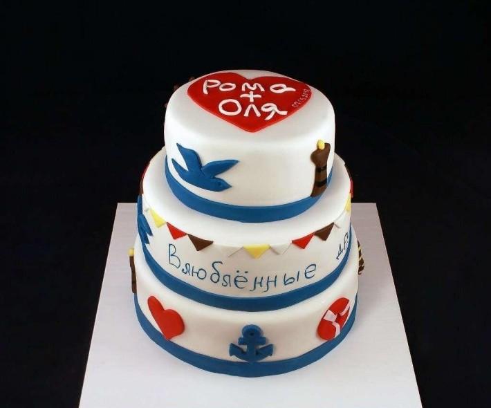 """Торт """"Влюбленные друг в друга и в море"""""""