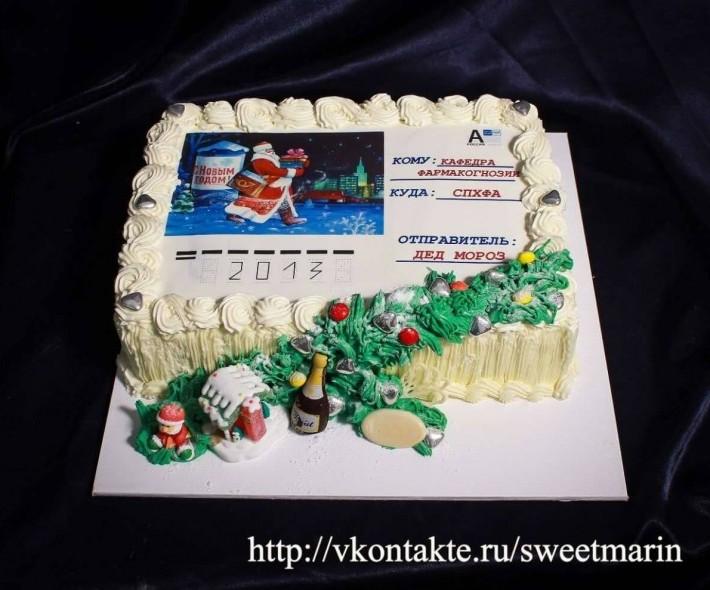 """Торт """"Открытка от Деда Мороза"""""""
