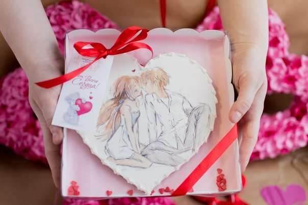 Имбирный пряник-валентинка в стиле Аниме