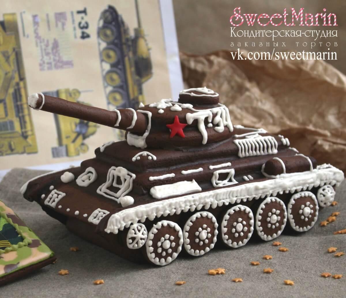 Объемный пряничный танк