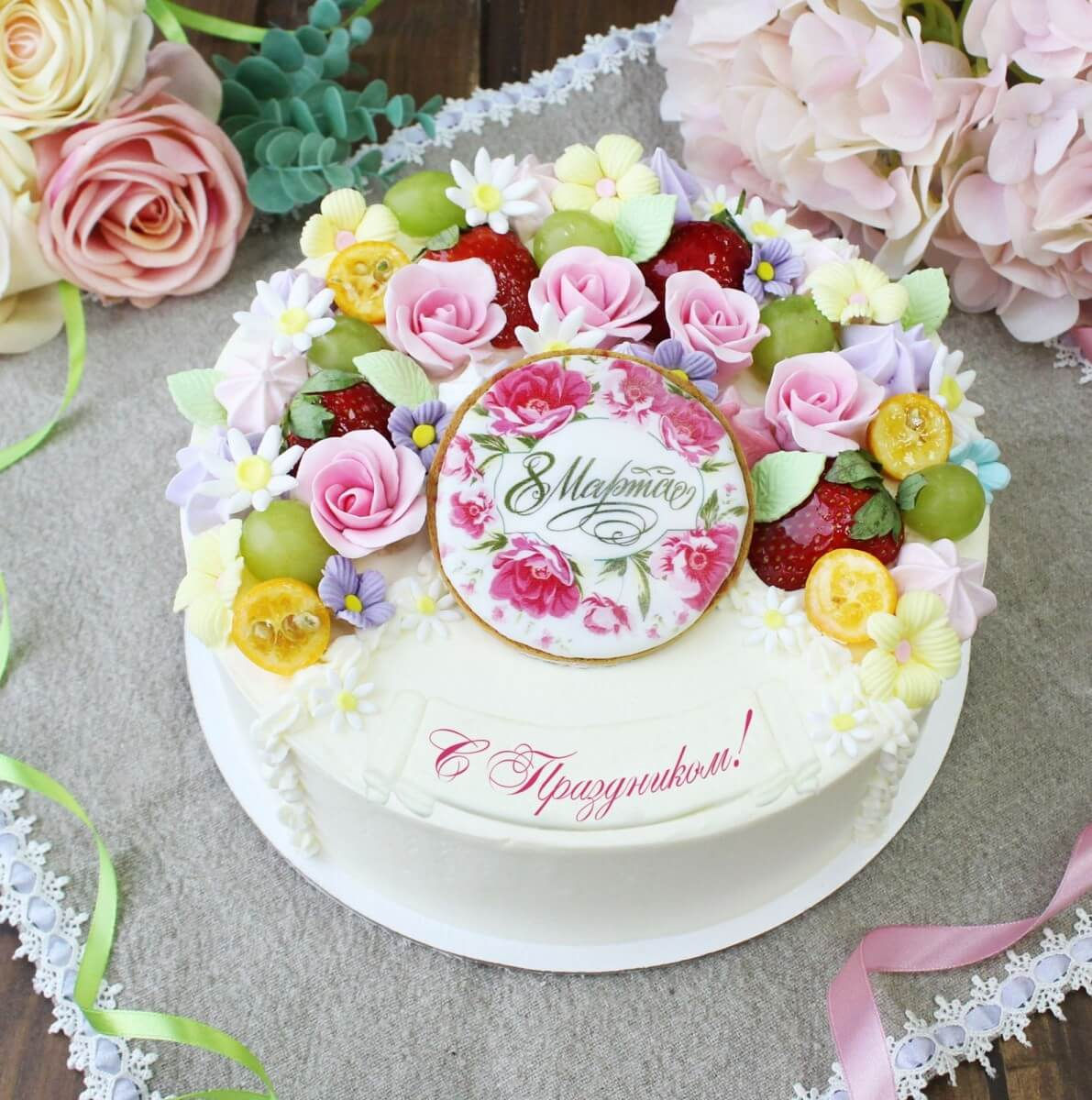 """Торт """"Четвертинка на 8 марта"""""""