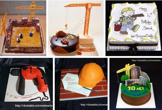 Примеры тортиков на День строителя